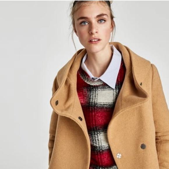 d4b66d637e NWT Zara Wool Coat with Wraparound Collar NWT